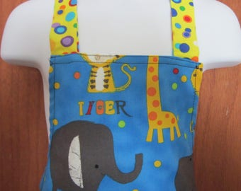 Childs Full Apron - Blue with Tigers, elephants, giraffes and crocodiles