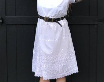 Vintage 50's White Eyelet Dress
