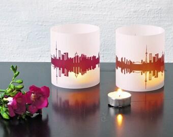 Lantern TORONTO city light, 2 Tablelight fume and plum, for Toronto Lovers, Honeymoon in Toronto, romantic candlelight,City Shade Toronto