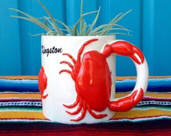 FREE SHIPPING-Vintage AGIFTCORP Ceramic Kingston 3D Crab Mug-Kitsch-Tropical-Coastal-Beach House Decor-Kitchen Decor-Coffee Mug