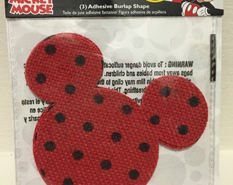 Official Disney Mickey Mouse Red And Black Polka Dot Crafting Burlap Adhesives For You To Create With ~ Great For Many DIY Projects