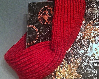 Handknit Red Twist Headband Ear Warmer