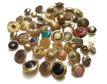 Lot of gold vintage shank sewing buttons