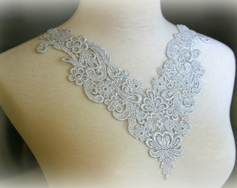 Tresors  Silver Large Lace Applique, Custom Design, Couture Design, Dressmaking, Lace Jewelry, Crafting, etc, GL-010