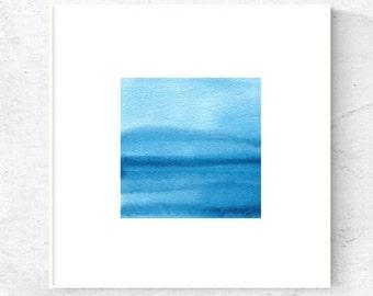 Abstract coastal art, Coastal printable art, ocean print square, blue art watercolor painting digital, 12x12 art print, downloadable prints