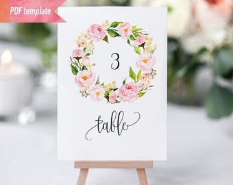 Printable Blush Pink Floral Wreath Table Number Card, Editable PDF Template, 4x6, 5x7, Reception Table Number Sign, DIY Instant Download #05