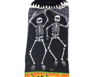Spooktacular Skeletons Dish Cloth With Black Crocheted Top