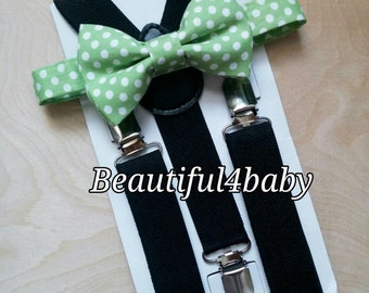 Green Bow Tie and Suspender Set- 6 Months to 5 Years Old