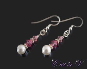 Crystal Earrings - Pearl Earrings - Pink Crystal Earrings - Elegant Drop Earrings - Dangle Earrings - Swarovski Crystal and Pearl Earrings