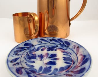 Two Flow Blue Luncheon Plates -  Vintage - Cobalt Blue Color Including Leaves and 'Wheat' -Bottom Impressed Marks