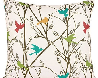 Summertime Bird Print Pillowcase Cover 18x18.