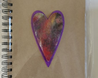 Have a Heart - Stylish notebook with hand felted heart
