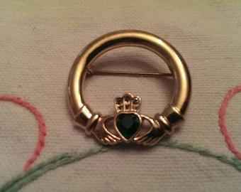 Vintage Irish Claddagh Brooch or Lapel Pin by Solder