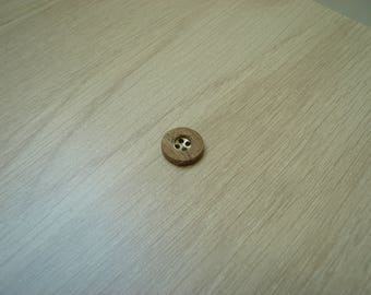 button wood and brass round shape