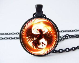 Phoenix necklace Phoenix pendant Phoenix jewelry Fantasy jewelry Firebird Phoenix bird necklace Fantasy bird Phoenix rising Phoenix wings