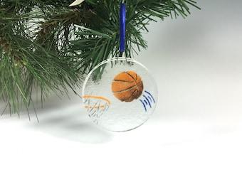 Basketball Ornament, Sports, Fused Glass, Basketball Gift