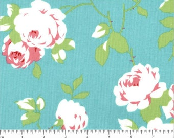 Chloe Rose Vine Green Tanya Whelan for Free Spirit - PWTW101 Green - Pink Aqua and Blue Rose 100% Cotton Fabric