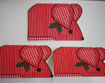 3 unique mouse-shaped Vintage Christmas cards / xmas / holiday cards - with envelopes