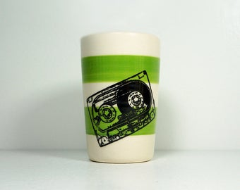 itty bitty cylinder / vase / cup with a Mixtape cassette print on Leaf Green stripes, Ready to Ship