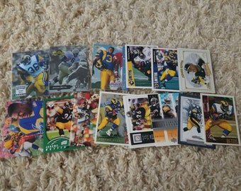 x14 Jerome Bettis Vintage Football Cards including rookies Pittsburgh Steelers Notre Dame Los Angeles St. Louis Rams