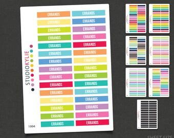 Errands -  Header Planner Stickers - To Suit Erin Condren Life Planner Vertical  - Repositionable Matte Vinyl