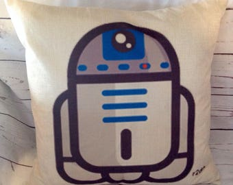 R2D2,star,Duck Feather pillow insert and Cotton Linen Cover, 18×18, Free Shipping..,Great Gift,cute and fun pillow, kids pillow