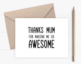 Funny Mothers Day Card Happy Mothers Day Card for Mom Card for Mum Thank you Card for Mum Mom