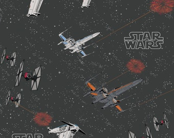 Star Wars Last Jedi Space Ship Battle Carbon Ships X-Wing TIE Fighter Cotton Fabric by Camelot