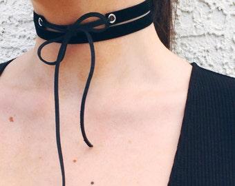 Black Velvet Choker// Black Velvet Choker Wrap with Black Distressed Cord// Choker wrap// Wrap choker// Velvet wrap// Black velvet wrap