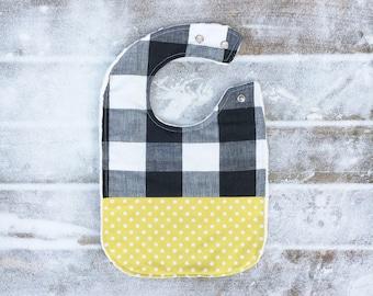 Black and White Plaid Baby Bib ~ Adjustable Bib ~ Large Bib