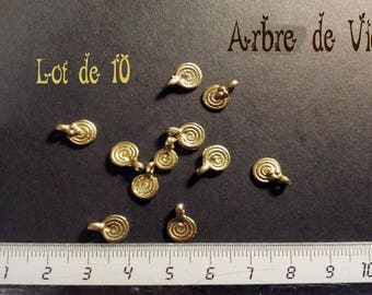 Set of 10 small spiral ethnic charm bronze
