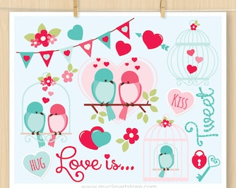 Valentine's Day Clipart, Love Is Tweet, Birds, bird cages, bunting banner, locket, flowers, Commercial Use, Vector clip art, SVG Cut Files