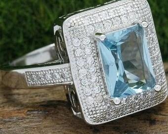 Size 7 14k White Gold Filled,Genuine White & Sky Blue Topaz Ring retail for 399!