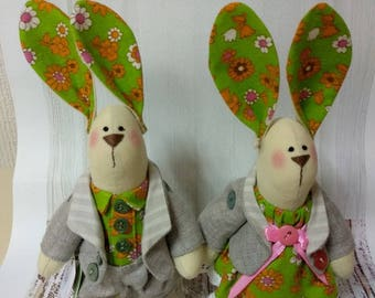 Exclusive rabbit handmade soft toy from ukraine only one copy two pieces