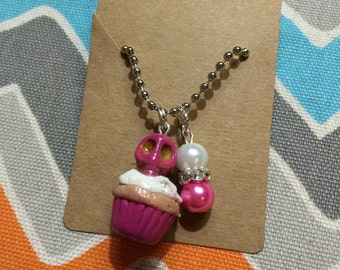 Polymer Skull Cupcake Charm Necklace