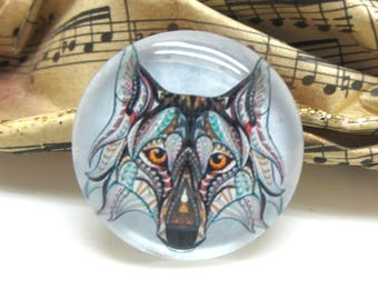 1 cabochon 25 mm glass Tribal Wolf - 25 mm