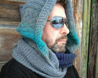 Hooded cowl || Outdoors-gift || Chunky scarf hooded oversize, Christmas gift from daughter, Infinity men's scarf hooded wool, Boyfriend gift