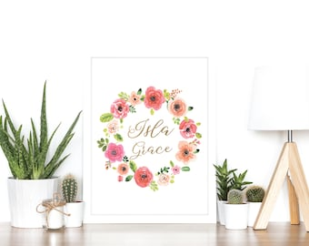 Baby Personalized Name Print or Birth Announcement - Rose Gold Foil and Watercolour - Baby Gift - Keepsake