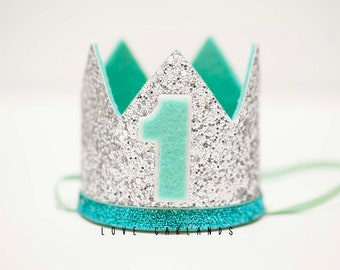Mint Silver Birthday Crown, First Birthday Crown, One Birthday Crown, Mint Silver Felt Crown, Mint Silver Birthday, Mint Silver Felt Hat