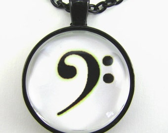 Men's BASS CLEF Necklace -- Soul deep music,  Classic bass clef in black on white,   Music lovers necklace, Gift for him