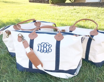 Monogrammed Weekender | CB Station Canvas and Leather Travel Duffle Tote | Preppy Personalized Duffel Carryall Bag | Bridesmaids Gifts