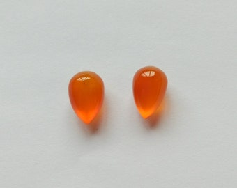 Orange Chalcedony Upside Down Half Drilled Acorn Inverted Drops 8x12 mm One Pair F4243