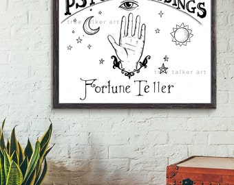 Psychic Reader Sign - Vintage Style Fortune Teller Sign - Giclee Art Print