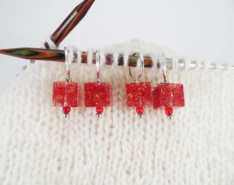 Ruby Red Captured Fiber and Resin Stitch Markers Set of 4