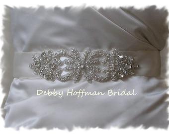 Wedding Sash, Rhinestone Crystal Bridal Belt, Rhinestone Wedding Dress Sash, Jeweled Bridal Sash, Wedding Dress Belts, Sashes, No. 2041S1.5
