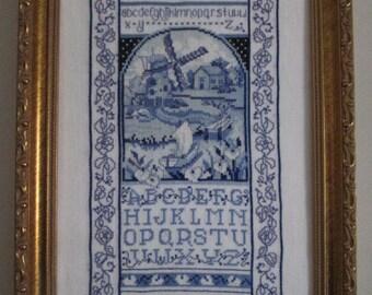 Framed Cross-Stitched Sampler: Dutch Windmill