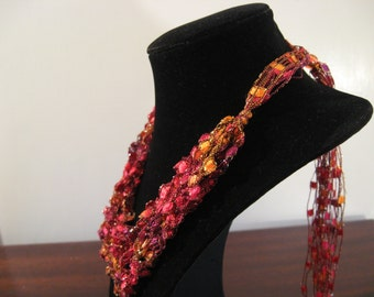 Red, orange, pink, Gold and Yellow Warm Colors Trellis Necklace / Crochet Necklace Item No. M8