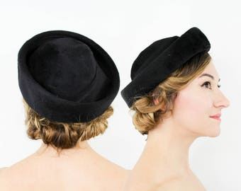 50s Black Wool Velour Hat | Black Hat with Bow | I. Magnin