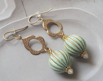 Isabella   Mint And Gold Vintage Drop Earrings