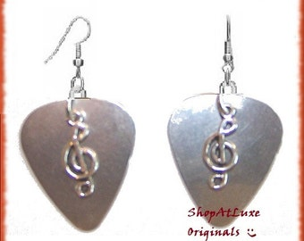 THE ORIGINAL Steel Guitar Pick Earrings With Choice of Treble Cleff - Acoustic Guitar or Electric Guitar Charm